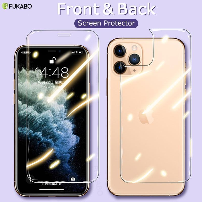 Vidrio Protector completo frontal y trasero para iPhone 11 Pro Max XS XR X SE 2020 Protector de pantalla para iPhone 7 8 Plus 6s 5s Film Cover