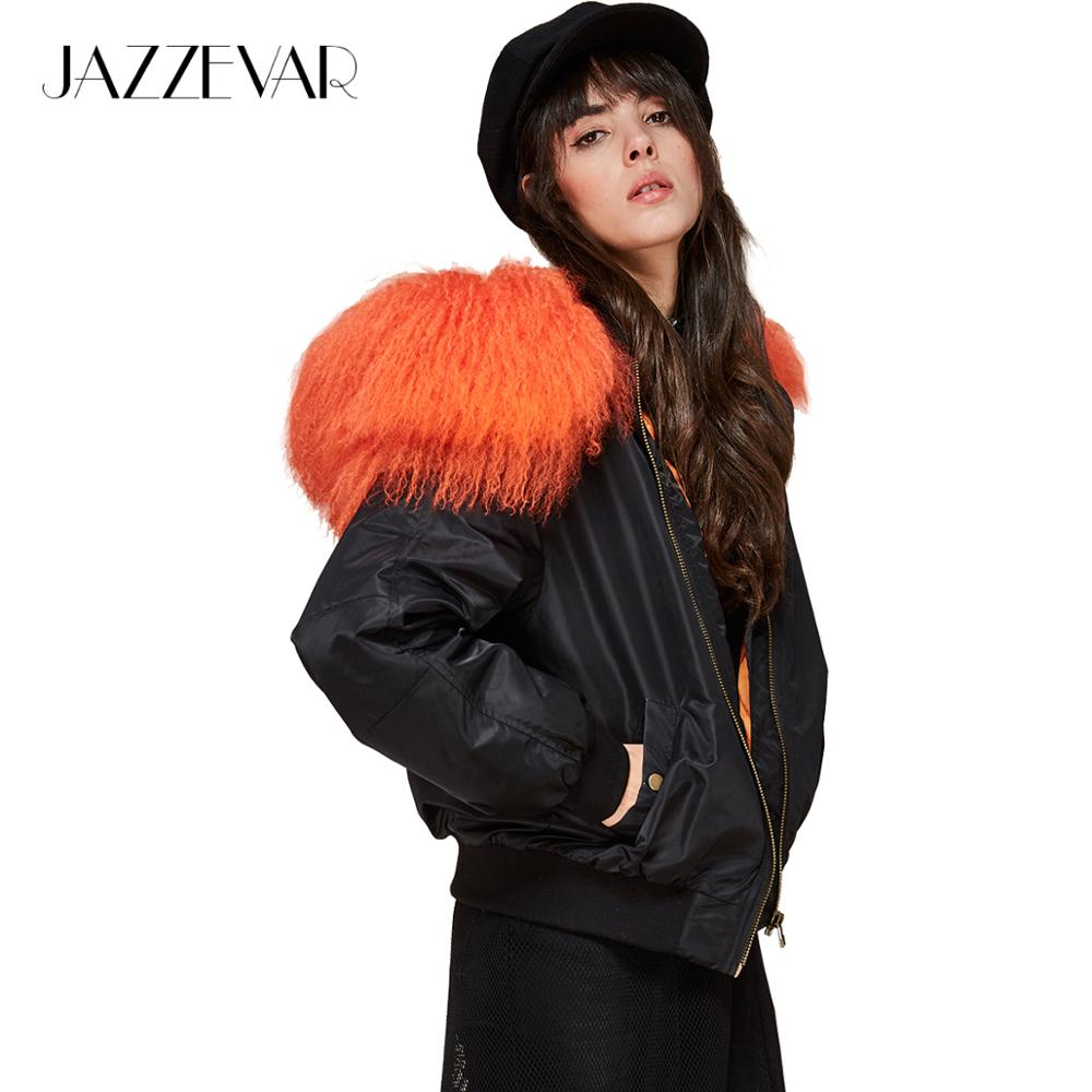 JAZZEVAR 2019 New winter fashion street woman hooded bomber   jacket   mongolia sheep fur collar short   basic     jacket   quilted outwear