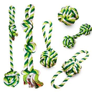 1 Uds. Juguetes para mascotas masticable para perros, dientes limpios para exteriores, Juguetes Divertidos para jugar, Bola de cuerda verde para perros pequeños y grandes