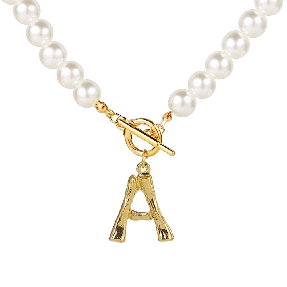 Simulated Pearl Necklace For Women 2020 Statement Jewelry Name Gold Bamboo English Alphabet Initial Letter Pendants Toggle Chian 1