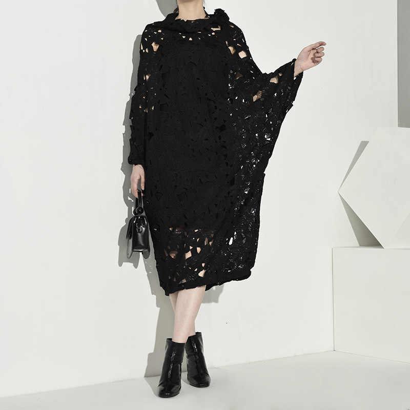 [Eam] Vrouwen Black Lace Hollow Out Big Size Jurk Nieuwe Ronde Hals Lange Mouw Losse Fit Mode Tij lente Herfst 2020 Q09101