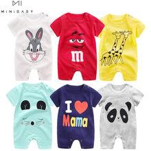 2021 ucuz pamuk bebek romper kısa kollu bebek giyim tek parça yaz Unisex bebek giysileri kız ve erkek tulumlar zürafa
