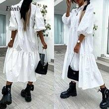 Vestido holgado informal de primavera con media manga para mujer, Vestido camisero elegante con botones y cuello vuelto