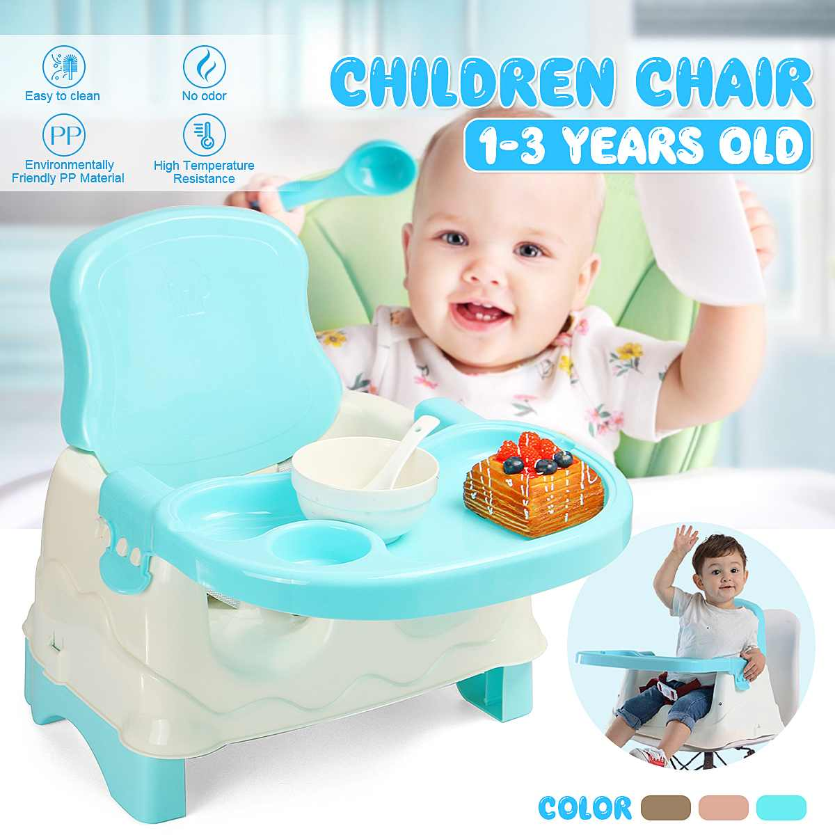 Baby Dining Chair Children's Dinette Portable Folding Baby Chair Food Grade PP 3 Levels Adjustable For 1-3 Years Old Kids