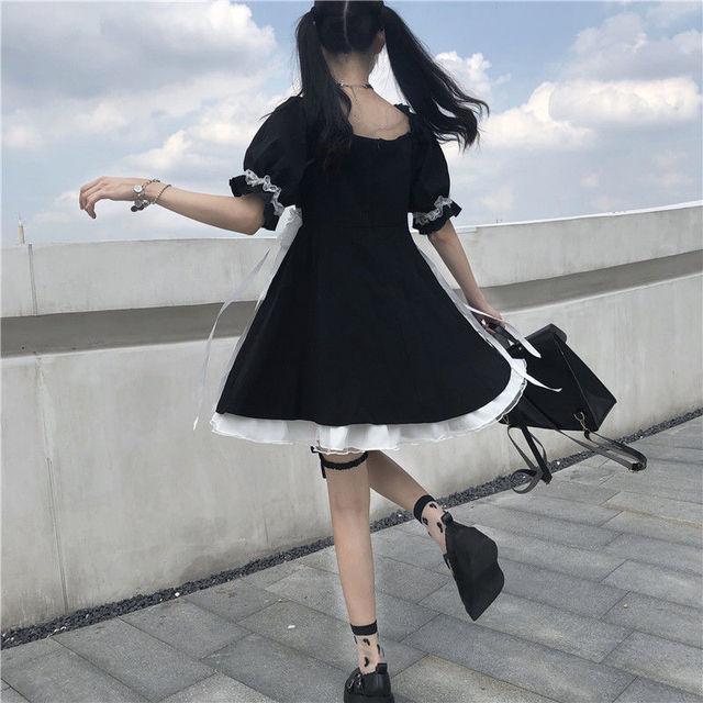 QWEEK Gothic Lolita Dress Soft Girls Sweet Lolita Style Kawaii Cute Lace-up Puff Sleeve Dress Princess Fairy Goth Dress 2021 2