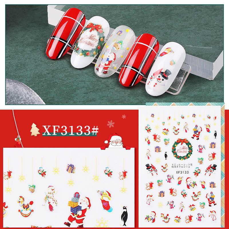 1 Máy Tính Giáng Sinh Móng Thiết Kế Nghệ Thuật Dán Tuyết Mùa Đông Santa Nai Sừng Tấm Tường Cho Dụng Cụ Làm Móng Dụng Cụ