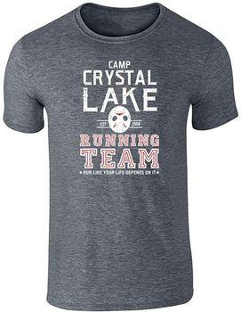 Camiseta de manga corta de algodón transpirable para hombre, camiseta con gráfico gris oscuro, disfraz de Horror Team para correr, lago cristalino