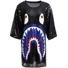 Женский летний топ, модная одежда в стиле хип-хоп с блестками, свободная футболка с рисунком, короткий рукав, повседневный блестящий топ