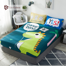 Liv-Esthete Cartoon Funny Dino 100% Cotton Fitted Sheet Dinosaur Mattress Cover Bed Linen On Elastic Band For Adult
