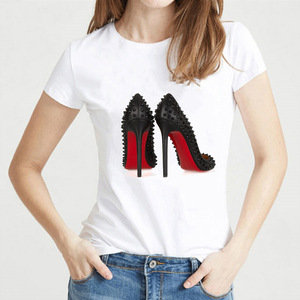 2020 Summer New Style Watercolor High Heel Shoes Fashion Printed T-shirt Women's Funny Short Sleeve Hip Hop Street Tops