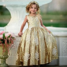 Fashion Gold Sequin Flower Girl Dresses Lace Applique First Holy Communion Gowns For Girls