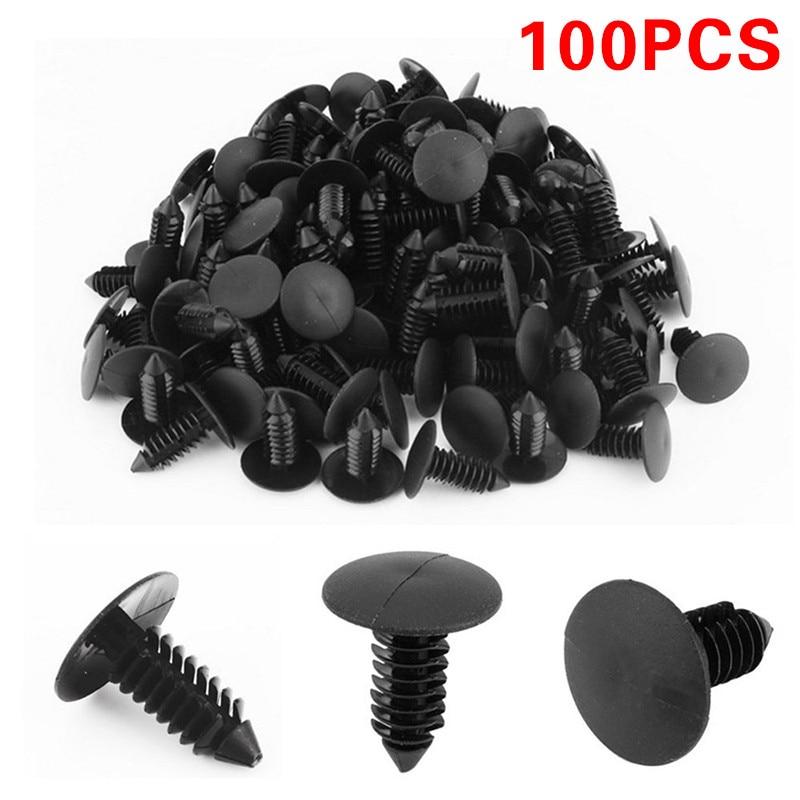 100x Black Plastic Rivets Fasteners 8mm Dia Hole for Car Auto Bumper Fender