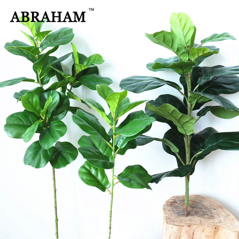 122cm Large Artificial Ficus Tree Branch Faux Palm Leafs Green Plant Tropical Shrub Autumn Decoration Fake Rubber Tree For Home