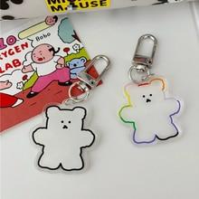 Key-Holder Keychain Figure Cartoon Cute Bear PVC Mini Trinket Key-Ring-Anime Gift Gummy
