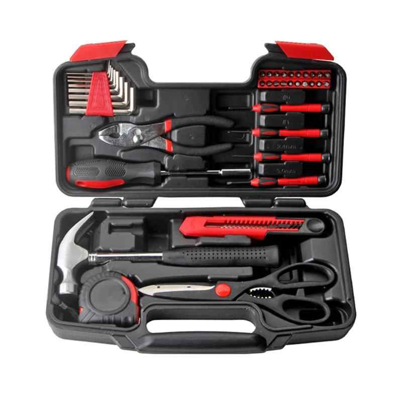 39in1 Socket Wrench Tool Set Auto Repair Mix Tool Combination Package Hand Tool Kit Household with Plastic Toolbox Storage Case