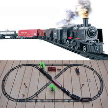 Electric Railway Classical Freight Train Water Steam Locomotive Playset with Smoke Simulation Electric Train Puzzle Toys