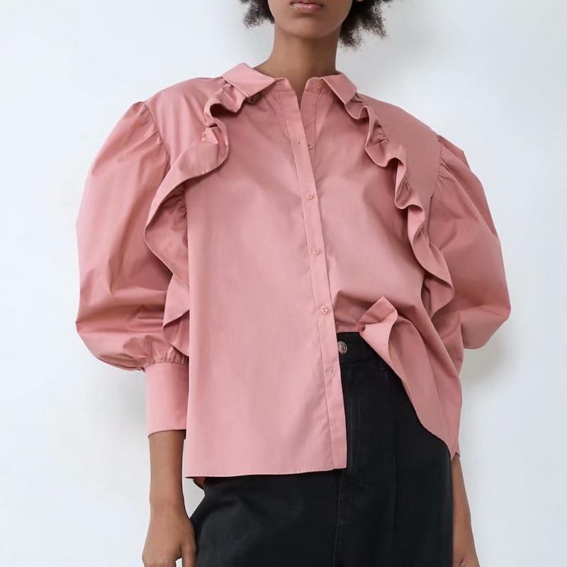 Женская рубашка с оборками весна 2020 Новая мода длинный рукав мягкий поплин розовый Топы современная леди Свободная блузка|Блузки и рубашки|   | АлиЭкспресс