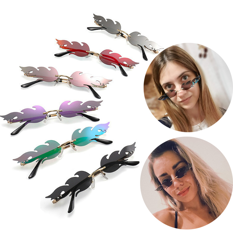 New 2019 Fashion Fire Flame Sunglasses Women Men Brand Design Rimless Wave Eyewear Luxury Trending Narrow Sun Glasses Streetwear