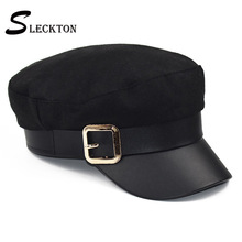 SLECKTON PU Leather Military Hat Sailor Hats Cotton Flat Top Travel Cadet Hat Captain Cap Berets Painters Cap Army Caps Women military hats white captain sailor hat navy marine caps with anchor army hats for women men child fancy cosplay hat accessories
