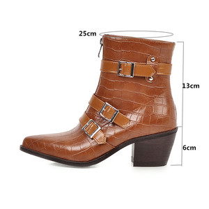 Image 3 - YMECHIC Plus Size Occident Brown Buckle Front Zipper Block Heels Ankle Boots for Women Shoes Cowboy Western Boots Winter 2019