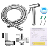 Bathroom Wall Easy Install Hose Toilet Bidet Sprayer Set T Adapter Shower Head Hardware Handheld Stainless Steel Holder Faucet