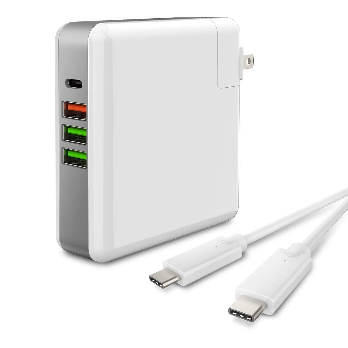 Настенное зарядное устройство USB C, 4 порта, 61 Вт, зарядное устройство usb type C PD, совместимо с MacBook iPhone Xs