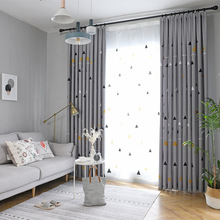 Nordic Linen Curtains for Living Room Wind Modern Geometric Simplicity Curtains for Kids Bedroom Blackout Curtains