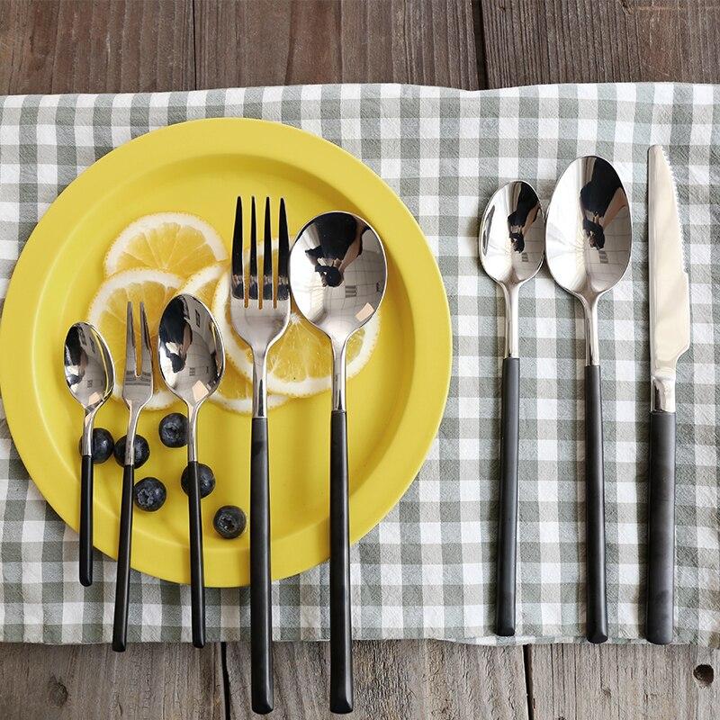 8 pièces noir argent ensemble de couverts en acier inoxydable dîner Steak couteau fourchette cuillère Western vaisselle ensemble déjeuner vaisselle ensemble KK60CJ
