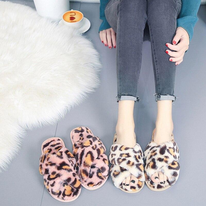 SWQZVT Leopard print women slippers non-slip house furry ladies slippers shoes 2020 open toe flat indoor fur slides for women (30)