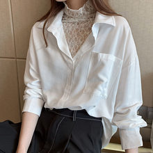 Elegant Lace Patchwork Blouse Women Korean Chic Designer Brand Fake Two Piece Long Sleeve White Shirts Causal Female Tops(China)
