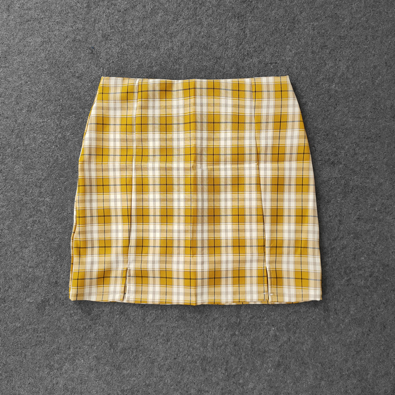 Summer Harajuku Plaid Pencil Skirts Womens High Waist Mini Skirts Lining With Shorts 2020 korean Streetwear Vintage Sexy Skirt