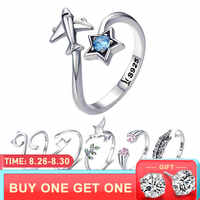 BISAER Real 925 plata esterlina mujer viaje sueño avión anillos ajustables para mujeres joyería de plata esterlina S925 GXR322