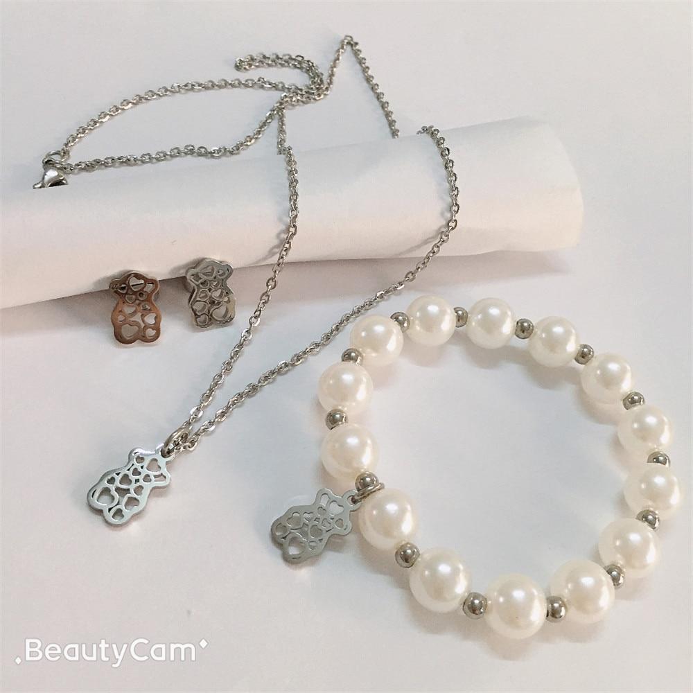 cute bear earrings necklace pendant bracelet charm stainless steel jewelry set for best girl