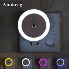 LED Night Lamp EU US Plug Round Intelligent Light Control Sensor Colored Lights for Children's Bedroom Lighting Christmas Gift