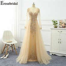 Erosebridal A Line Evening Dress Long Sleeve 2020 Gold Beading Elegant Evening Gown Small Train Prom Party Gown Zipper Back