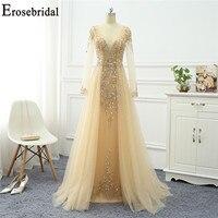 Erosebridal Gold Evening Dress 2020 Beaded Long Sleeve Evening Dress Long Elegant V Neck with Train robe soiree