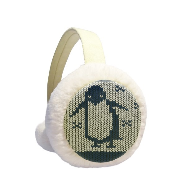 Penguin Knit Nordic Illiustration Pattern Winter Earmuffs Ear Warmers Faux Fur Foldable Plush Outdoor Gift