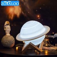 Stampa 3D saturno luna lampada luce notturna Touch/Pat Control 16 colori telecomando regali per bambini decorazioni per la camera da letto