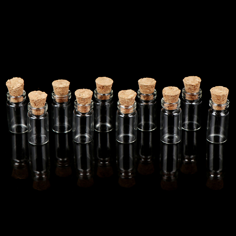 10Pcs Display Glass Bottles Jars With Cork For Food Storage Dollhouse Kitchen Accessories 1:12 Miniature