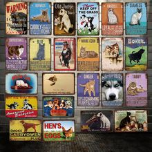 [ DecorMan ] Warning DOG CAT HEN's EGGS HUSKY Custom Animal Metal signs Mural Sticker Bar PUB Decor LT-1985