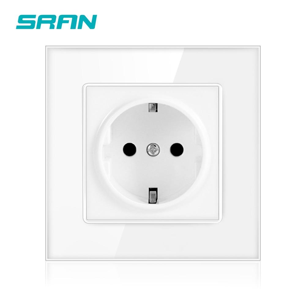 SRAN-prise électrique 16a, normes ue, 86mm x 86mm, prise électrique murale, panneau en verre cristal blanc