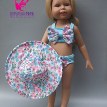 Girl Doll Cap Bikini Summer Suit with Hat Also Fit-For 43cm Baby 18-Swimming-Suit