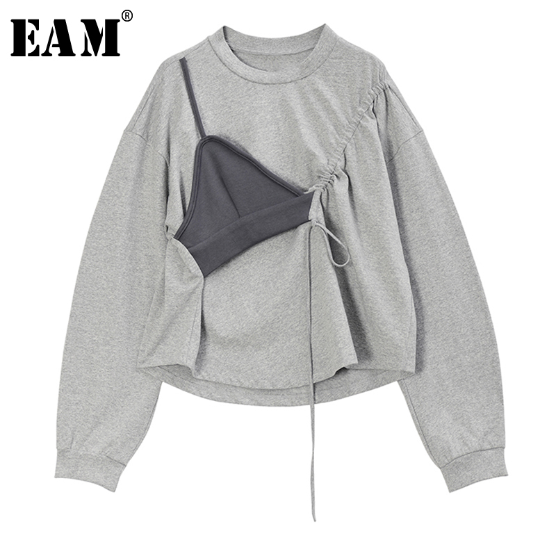[EAM] Loose Fit Gray Drawstring Asymmetrical Sweatshirt New Round Neck Long Sleeve Women Big Size Fashion Tide Spring 2020 1R732