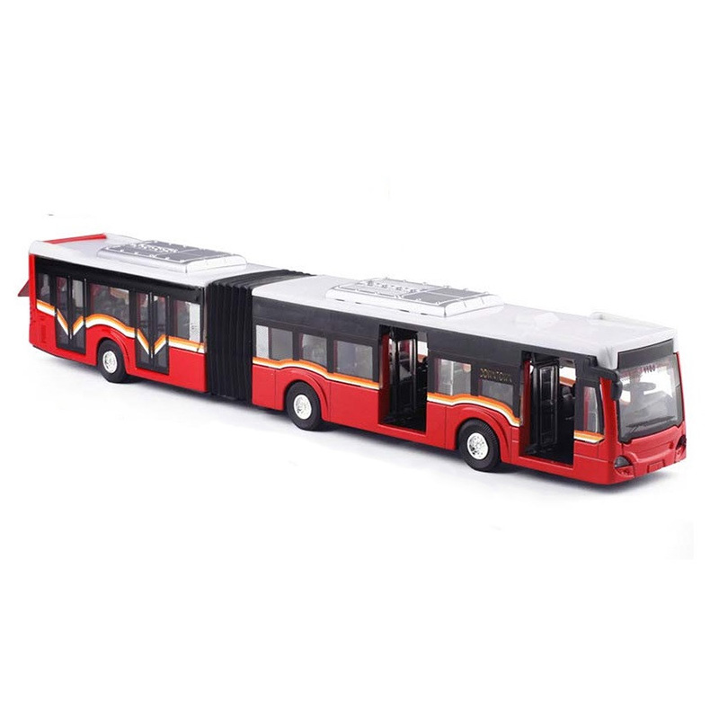 1:50 Alloy Pull Back Double Bus,High Simulation City Bus Model,Toy Vehicles,Metal Diecasts,Flashing & Musical