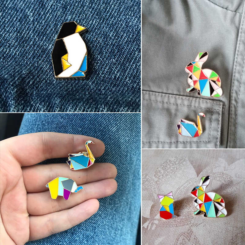 Mode Origami Crane Kelinci Penguin Gajah Kucing Angsa Paus Kuda Bros Warna-warni Splicing Hewan Enamel Pin Lencana Perhiasan