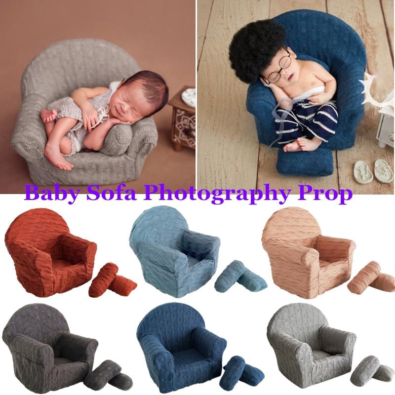 Almofadas para cadeira de bebê recém-nascido, acessórios para fotografia, mini sofá e poltrona, acessórios para fotos infantis de 3 pçs/set