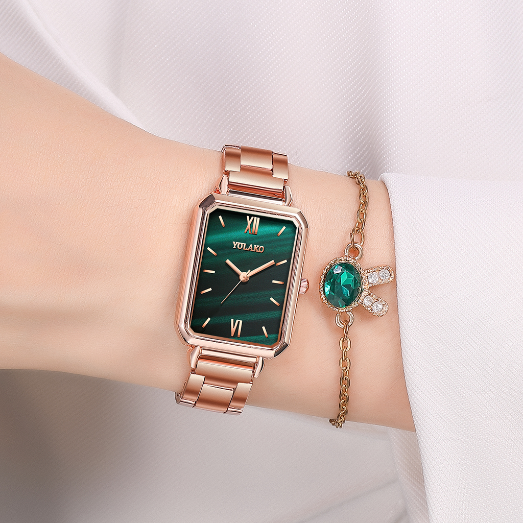 Reloj Mujer Women Rectangle Green Marble Dial Roma Watches YOLAKO Female Rose Gold Stainless Steel Quartz Wrist Watches 2