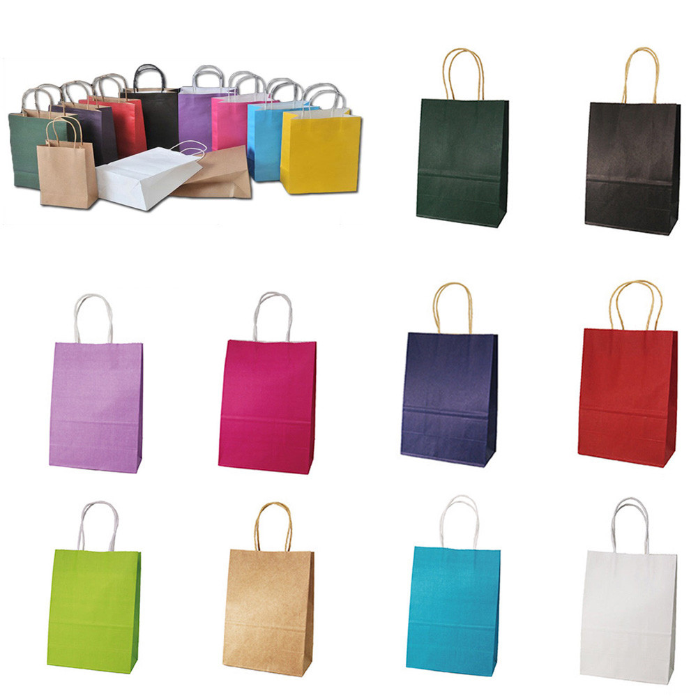 10 Colors Kraft Party Paper Carrier Bag Wedding Treat With Handle Gift Loot Bags  For Holiday Product Home Decoration Supplies