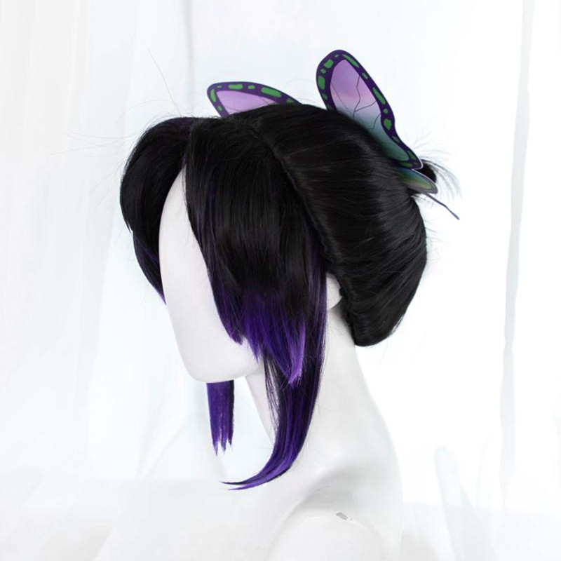 Pre-sale Uwowo Demon Slayer: Kimetsu No Yaiba Shinobu Kocho Cosplay Wig 23cm Short Black Purple Gradient Demon Slaying Corps