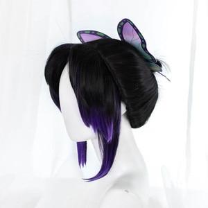 Pre-sale Uwowo Demon Slayer: Kimetsu no Yaiba Shinobu Kocho Cosplay Wig 23cm Short Black Purple Gradient Demon Slaying Corps(China)